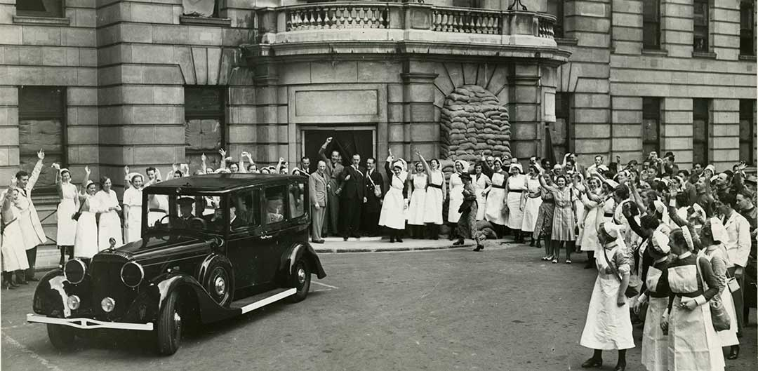 Nurses waving outside old Middlesex Hospital
